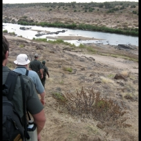 Walking down the Olifants' steep banks