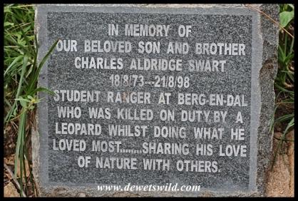Poignant memorial on the Rhino Trail