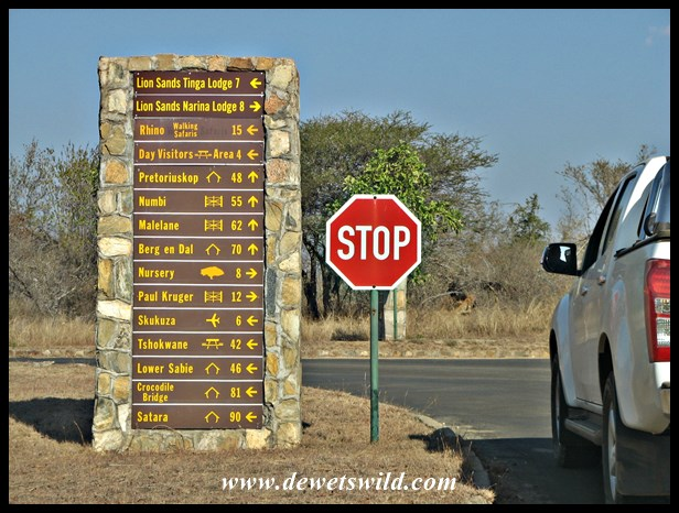 Road signpost at Skukuza