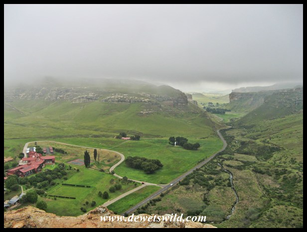View of the Golden Gate Hotel & Chalets and the road to the small town of Clarens from the top of Brandwag this misty morning