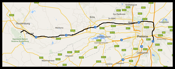 Pretoria to Kgaswane <br />  (map drawn with Google Maps)