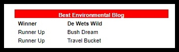 de Wets Wild was voted Best Environmental Blog in the 2017 South African Blog Awards