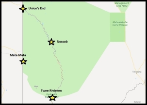 Relative locations of Twee Rivieren, Mata-Mata, Nossob and Union's End in the Kgalagadi Transfrontier Park