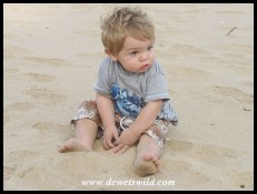 1 Year old: November 2010. Playing on the beach at Cape Vidal, iSimangaliso Wetland Park.