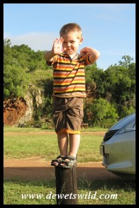 3 Years old: December 2012. Practicing balancing at Ithala Game Reserve.