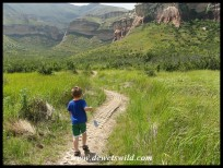 4 Years old: March 2014. Setting off on a walk in the Golden Gate Highlands National Park.