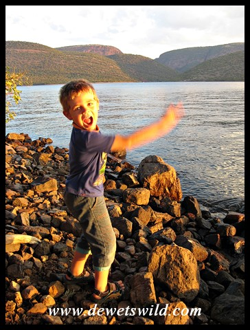 5 Years old: April 2015. Skipping stones on Loskop Dam.
