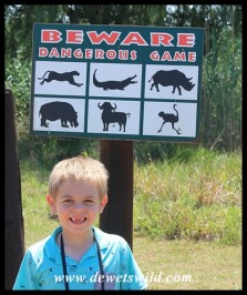 6 Years old: December 2015. This sign in Rietvlei Nature Reserve doesn't scare Joubert!