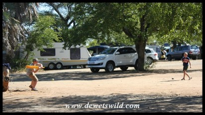 9 years old: June 2019. Playing cricket (his other great love) in the camping area at Shingwedzi in the Kruger Park.