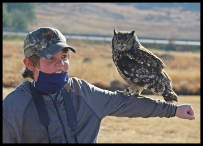 Joubert with Daphne, the Spotted Eagle Owl