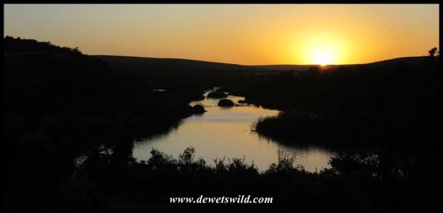 Sunset over the Breede River, seen from Chalet #7 at Lang Elsie's Kraal Rest Camp in the Bontebok National Park