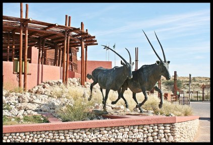 "Gemsbok statue at Twee Rivieren's reception, symbolic of the two ""Gemsbok"" parks joining together to form the Kgalagadi Transfrontier Park"