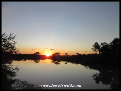 A view of the sunset from the deck of unit 10 (Loerie) at Tlopi Tented Camp
