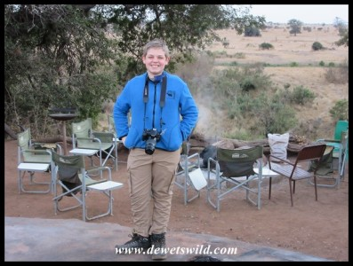 Joubert, very excited in the early morning, before we set out from the Sweni Trail base camp