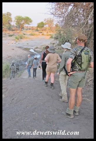 Crossing a wide stretch of the Sweni bed